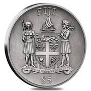 2017 8 oz Silver Panda Fiji $5 Coin .999 Fine Antiqued High Relief – revers