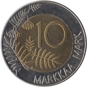 10 markkaa Entrée dans l'UE (laiton et cupronickel) – revers