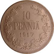 10 penniä - Nicholas II (Guerre civile) – revers