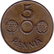 5 Penniä (without center hole) – revers