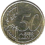 50 cents d'euro (2e type, 2e carte) – revers
