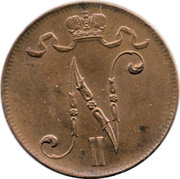 5 penniä - Nicholas II – avers