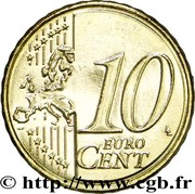 10 cents d'euro (2e type, 2e carte) – revers