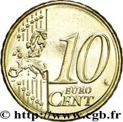 10 cents d'euro (2e type, 2e carte) – revers
