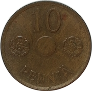 10 Penniä (without center hole) – revers