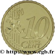 10 cents d'euro (1er type, 1ère carte) – revers