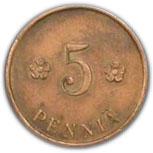 5 pennia (guerre civile) -  revers