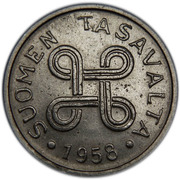 1 markka (fer plaqué nickel) – avers