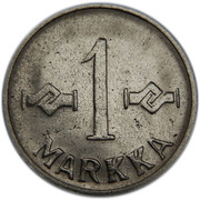 1 markka (fer plaqué nickel) -  revers