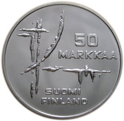 50 markkaa (Coupe du monde de hockey) – avers