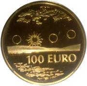 100 euros Premier euro finlandais en or – revers