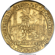 Lion heaumé d'or - Louis II de Mâle - Ghent Mint – avers