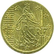 50 cents d'euro (1ère carte) -  avers