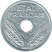 20 centimes Etat français (type vingt) -  avers