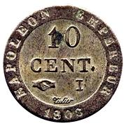 10 centimes Napoléon Ier (à l'N couronné) -  revers
