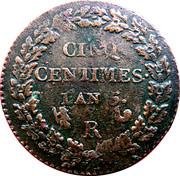5 centimes Dupré (grand module) -  revers