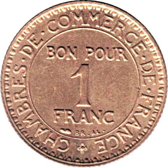 1 franc chambres de commerce france numista - Chambre du commerce evry ...