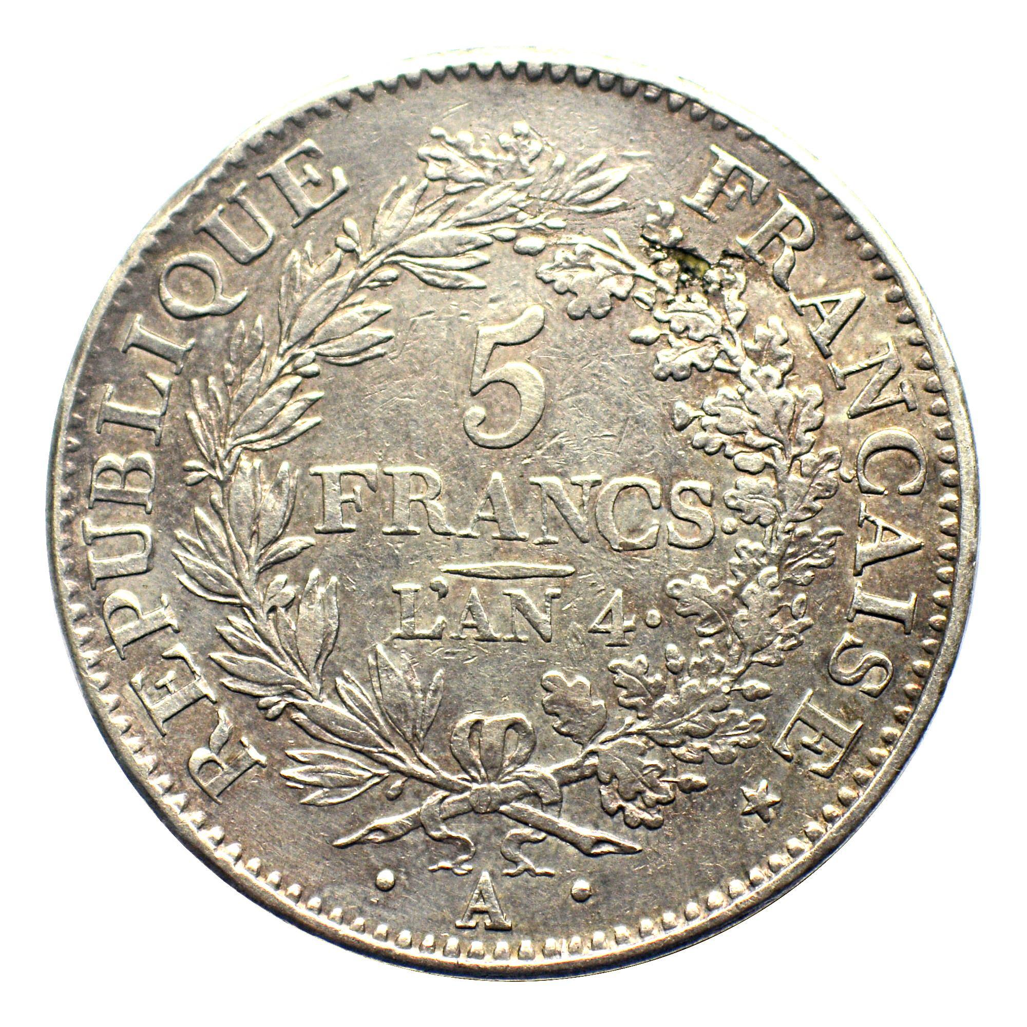 5 francs union et force  union serr u00e9  avec glands  listel par virole