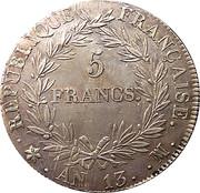 5 francs Napoléon Empereur (calendrier républicain) -  revers
