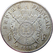 1 franc Napoléon III (tête laurée) -  revers