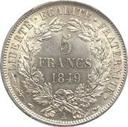 5 francs Cérès (IIe République) -  revers