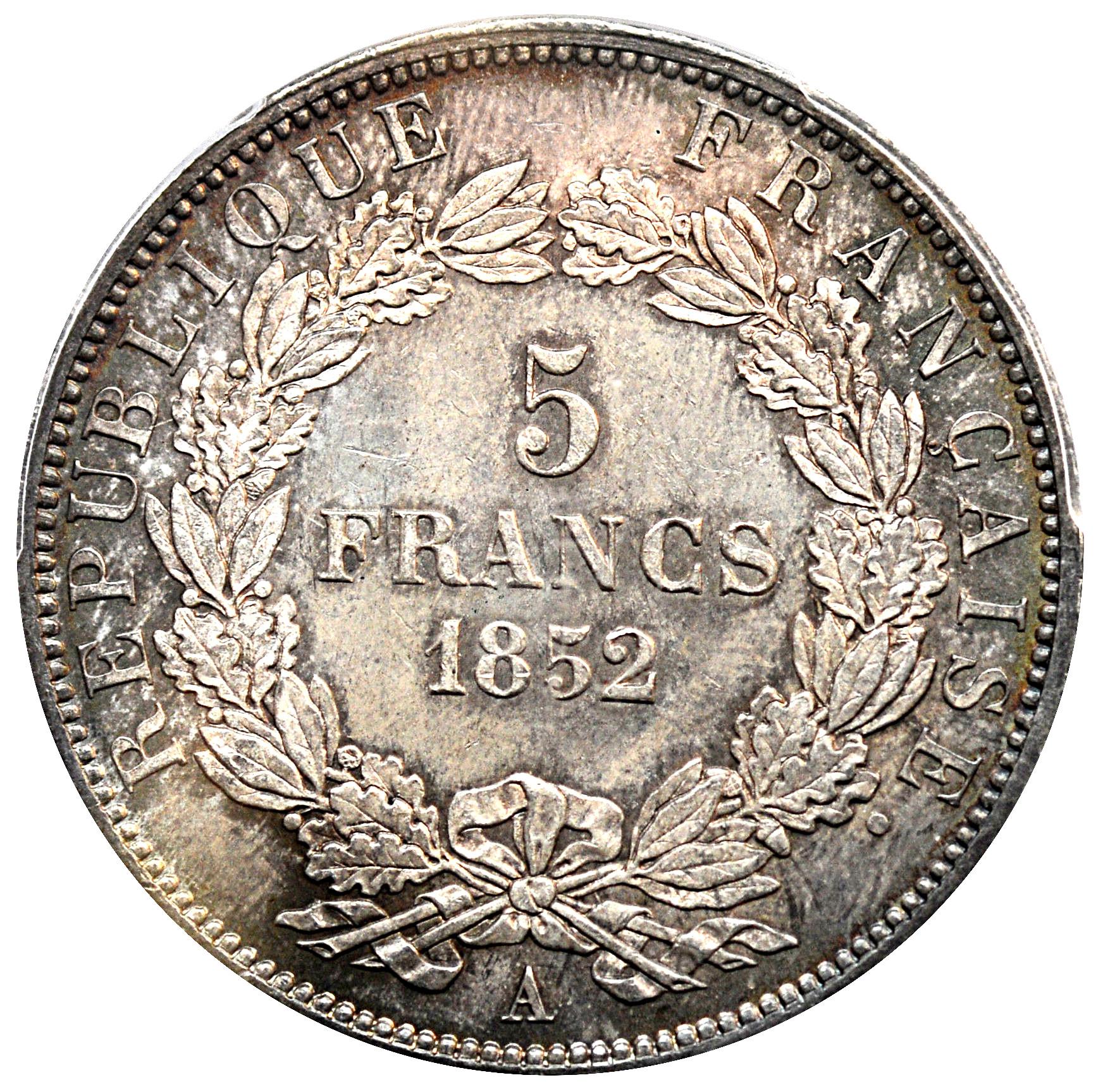 5 Francs Louis Napoleon Bonaparte Tete Nue Republique Francaise