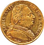 20 francs Louis XVIII (Buste habillé) -  avers