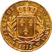 20 francs Louis XVIII (Buste habillé) -  revers