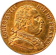 20 francs Louis XVIII (buste habillé) - Londres -  avers