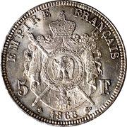 5 francs Napoléon III (tête laurée- Empire français) -  revers