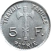 5 francs Pétain -  revers