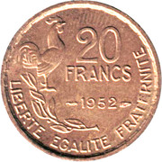 20 francs Guiraud (initiale G) -  revers