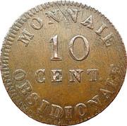 10 centimes Louis XVIII (Siège d'Anvers, monogramme large) – revers