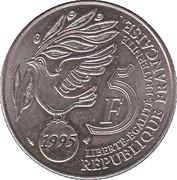 5 francs cinquantenaire de l'ONU (cupronickel) -  revers