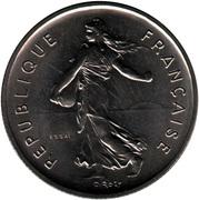 5 francs Semeuse (O.Roty, tranche striée, cupronickel) -  avers
