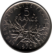 5 francs Semeuse (O.Roty, tranche striée, cupronickel) -  revers