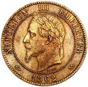 10 centimes Napoléon III (tête laurée) -  avers