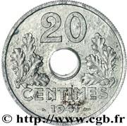 20 centimes Etat français (type 20) -  revers