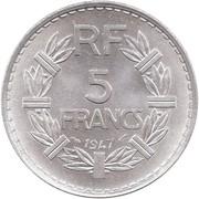 5 francs Lavrillier (Aluminium, poids : 3.5g puis 3.8g) -  revers