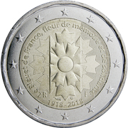 2 euros Bleuet de France (non colorée) -  avers