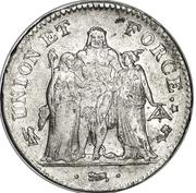 5 francs Union et Force (UNION desserré, seulement gland extérieur) -  avers