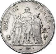 5 francs Union et Force (UNION serré, avec glands intérieurs et gland extérieur, petite feuille) -  avers