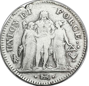 5 francs Union et Force (UNION desserré, seulement gland extérieur, petite feuille) -  avers