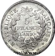 5 francs Union et Force (UNION serré, seulement glands intérieurs) -  avers