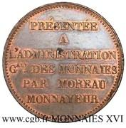 5 francs (essai de virole au module de 5 francs par Moreau) – revers