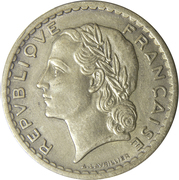 5 francs Lavrillier (bronze-aluminium) -  avers