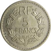 5 francs Lavrillier (bronze-aluminium) -  revers
