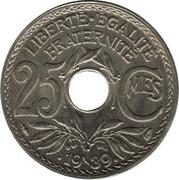 25 centimes Lindauer (maillechort avec points avant et aprés la date) -  revers