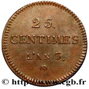 25 centimes (Essai en cuivre) -  avers
