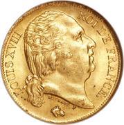 20 francs Louis XVIII (buste nu) -  avers